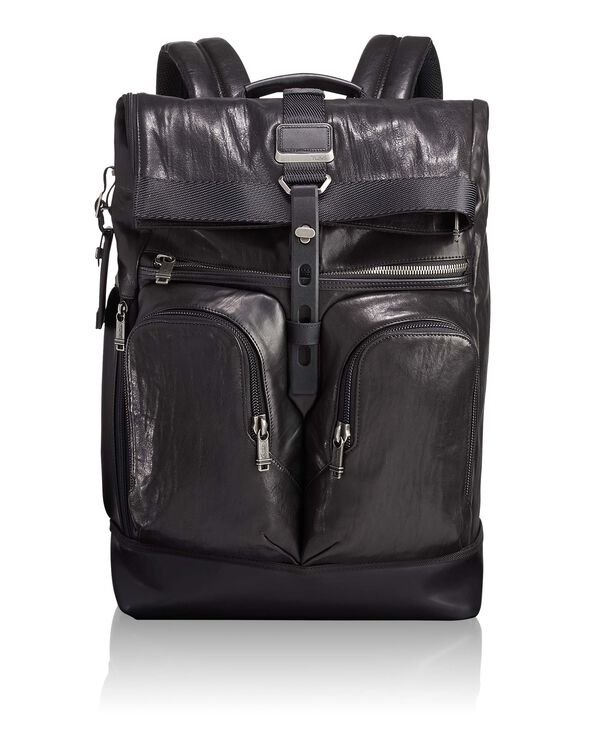 Alpha Bravo London Roll Top Leather Backpack